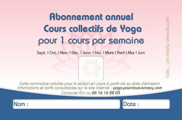Abonnement annuel cours collectifs de Yoga Pour Tous Annecy