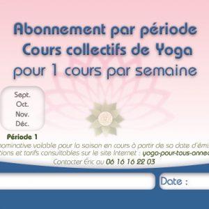 Abonnement Période 1 Cours collectif de Yoga Pour Tous Annecy